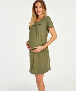 Kortarmet nattskjorte for gravide, Grønn