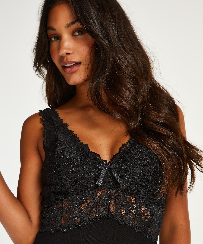 Modal Lace lang slipkjole, Svart, main