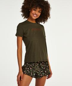 Leopard Ruffle Jersey shorts, Grønn