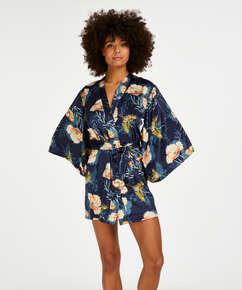 Kimono med lotus- og fuglemotiv, Blå