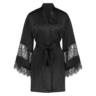 Kimono med satengblonder, Svart